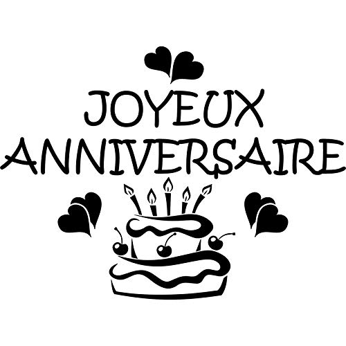 Family-decal Wall Sticker Lettering Quotes and Saying Joyeux Anniversaire Avec Un Gâteau for Kitchen Dining Room Birthday Gift -