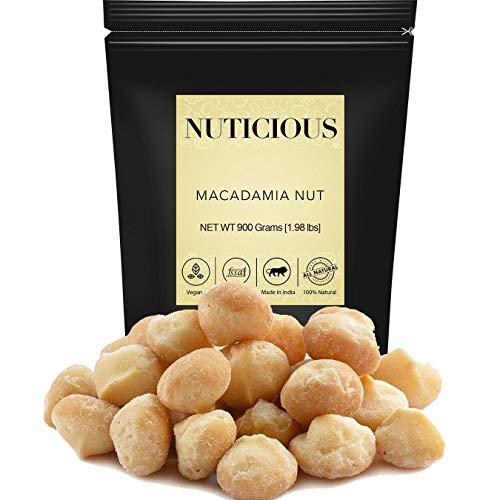 NUTICIOUS All Natural Exotic Macadamia Nuts-900 Gm (Gourmet Vegan Food Premium Quality)