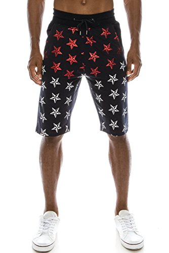 JC DISTRO Mens Hipster Metallic Graphic Star Printed Knee Length Navy Jogger Shorts L