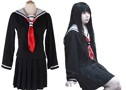 Hell Girl Cosplay Costume (SSJ: Japanese Anime Jigoku Shoujo Sailor Dress Hell Girl Enma Ai Cosplay Costumes (ASIA-M))