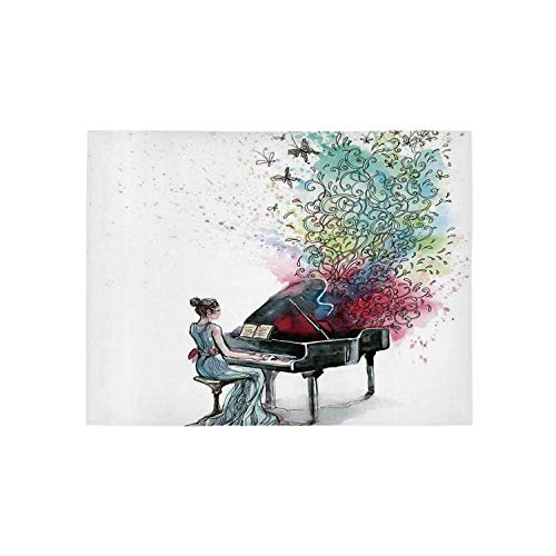 Music Decor Utility Area Rug,Grand Piano Music Musician Butterflies Ornamental Pianist Swirls Vintage for Home,84