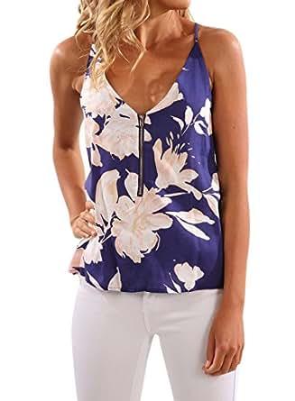 WLLW Women's Spaghetti Strap Front Zipper Floral Print Shirt Tops Tanks Camis Us L Blue