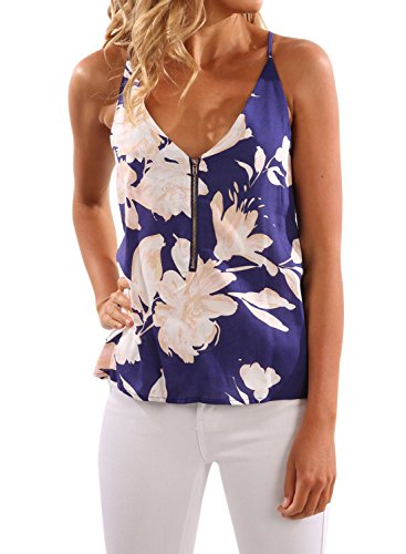 WLLW Women Spaghetti Strap Front Zipper Floral Print Shirt Tops Tanks Camis Blue Medium - Floral V-neck Tank Top