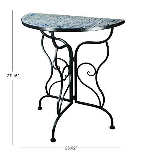 Table Column Accent (Benzara Deco 79 Console Hummingbird Round Glass Metal Indoor Outdoor Garden Patio Accent Table, Mosaic)
