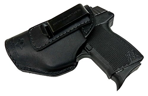 Relentless Tactical The Defender Leather IWB Holster - Made in USA - Fits Glock 42 | Ruger LC9, LC9s | Kahr CM9, MK9, P9 | Kel-Tec PF9, PF11 | Kimber Solo Carry - Black Left Handed