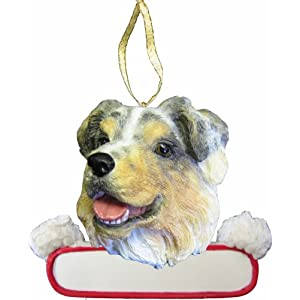 """Australian Shepherd Ornament """"Santa's Pals"""" With Personalized Name Plate A Great Gift For Australian Shepherd Lovers 11"""