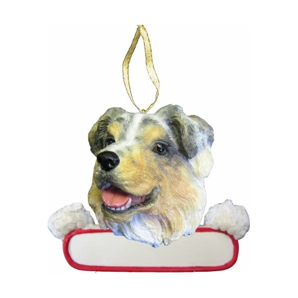 """Australian Shepherd Ornament """"Santa's Pals"""" With Personalized Name Plate A Great Gift For Australian Shepherd Lovers 1"""