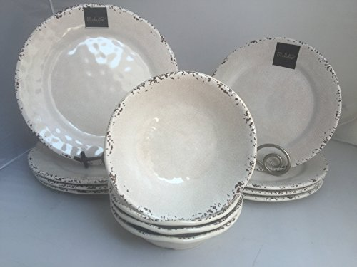 12-Piece Il Mulino Antiqued Almond Melamine Dinner Plates, Accent Plates & All Purpose Bowls Dinnerware Set (Service for four)