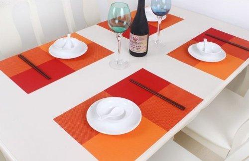 Blaze Kitchen Placemat Multi Colored PVC Placemats,set of 4 (Orange)