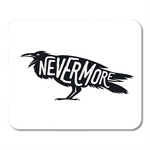 Emvency Mouse Pads Crow Raven Word Nevermore Witchcraft