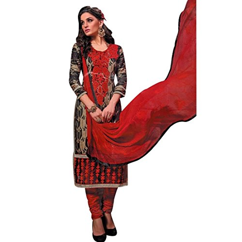 Ready To Wear Cotton Embroidered Printed Salwar Kameez Suit Indian – 0X Plus, Brown