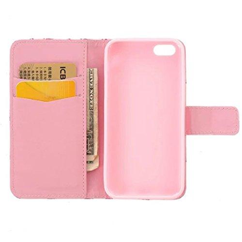 iPhone 5C Coque, 5C Coque, Lifeturt [ Amour ] [Credit Card Slot Series] Housse Etui en cuir Avec Wallet Ultra Slim [Flip Housse étui Wallet Case Cover] pour Apple iPhone 5C