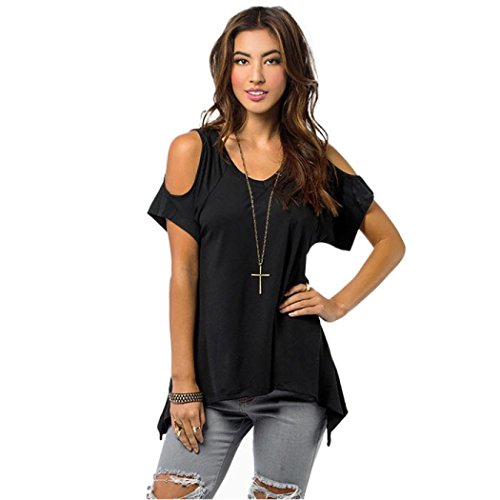 T-shirt For Women,Toponly Women's Short Sleeve Bustier T-Shirt Solid Stretch Off Shoulder Tops (new black, L)