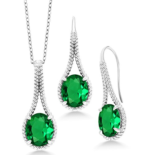 - Gem Stone King 12.00 Ct Green Simulated Emerald 925 Silver Pendant Earrings Set With Chain