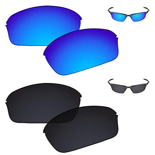 (Galvanic Replacement Lenses for Oakley Half Wire 2.0 Sunglasses - Ice + Black Polarized - Combo)