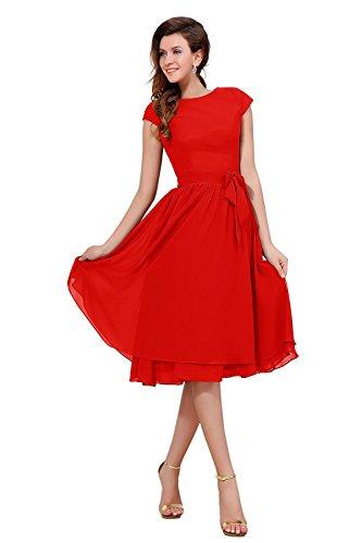 Bess Longueur Genou Mancherons Des Femmes De Mariée Mère De La Mariée Rouge Robe De Soirée