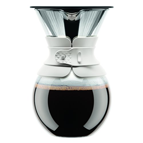 Bodum Pour-Over Coffee Maker with Permanent Filter, White, 3