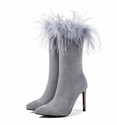 GLTER stivali Autunno Grigio a neri Nuovi donna da Stivali affascinanti 2018 grigi punta peluche pqHpr