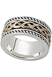 Mens Celtic Knot Ring Silver & 10K Gold