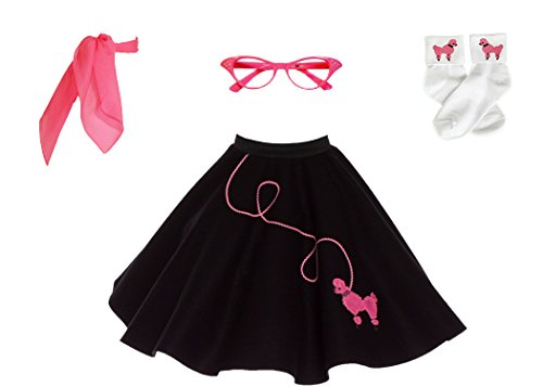 Hip Hop 50s Shop 4 Piece Child Poodle Skirt Costume Set, Size Large Black w/Pink ()