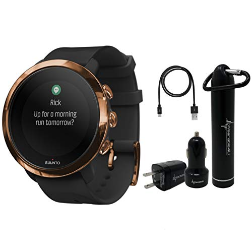 Suunto 3 Fitness Multisport Watch with Heart Rate Monitor and Wearable4U Power Pack Bundle (Copper)
