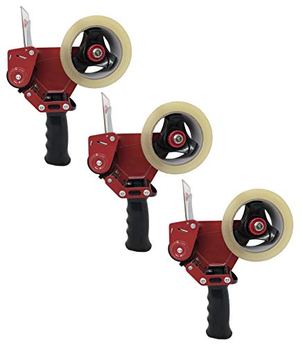 (Clipco Premium Tape Dispenser Gun with Retractable Safety Blade and Tape Included (Pack of 3) (Red-Black))