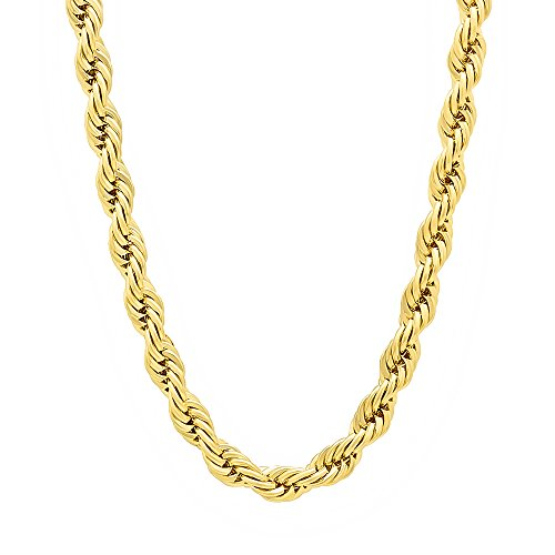 The Bling Factory 5mm 14k Gold Plated Rope Chain Necklace, 24