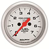 AutoMeter 4363-M Ultra-Lite Electric Fuel Pressure Gauge 2-1/16 in. Silver Dial Face Fluorescent Red Pointer White Incandescent Lighting Electric Digital Stepper Motor 0-7 BARS Ultra-Lite Electric Fuel Pressure Gauge