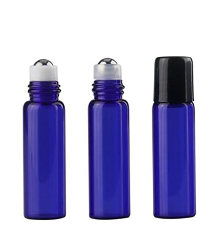 24PCS Blue 5ML Glass Roller Bottles Roll-on Bottle with Stainless Steel Roller Balls for Essential Oils Perfumes, 1PC 2ML Dropper Included by Teensery