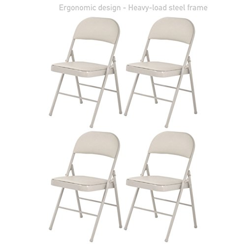 Portable Commercial Folding Chair Wedding Party Holidays Event Seat Durable Heavy-load Steel Frame PU Leather Padded Seat Home Kitchen Office Furniture - Set of 4 Beige # (Houston Leather Accent Chair)