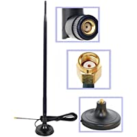 Dual Band Wi-Fi 9dbi Booster Long Range Omni Directional 2.4/5Ghz 802.11n/b/g Antenna with RP-SMA Male Connector on Magnetic Base (19,5/50cm RG174 Coaxial Cable)