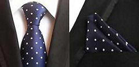 Jacob AleX #47176 Costume Polka Dot White Blue JACQUARD WOVEN Necktie Pocket Square Hankerchief