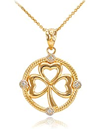 14K Yellow Gold Irish Shamrock Clover Diamond Pendant Necklace
