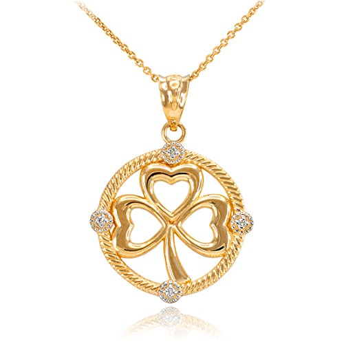 Diamond Shamrock Pendant (14K Yellow Gold Irish Shamrock Clover Diamond Pendant Necklace (20))