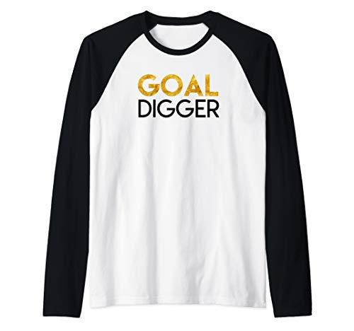 Goal Digger in Gold Raglan Baseball Tee - Gold Digger Tee