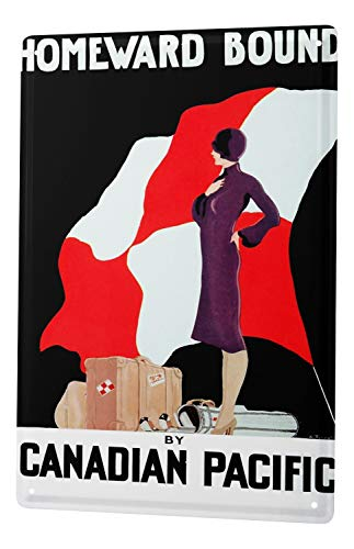 Tin Sign World Trip Canada travel suitcase woman Flag Decorative Wall Plate 8X12