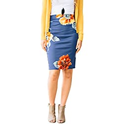 HUHHRRY Women's Below The Knee Pencil Skirt for Office Wear Blue Small