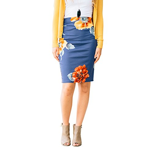 Pencil Skirts Plus Size Casual Skirt Elastic Waist Band Scuba Streychy Floral printed Blue (Waistband Pencil Skirt)