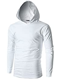 Mens Slim Fit Long Sleeve Lightweight Hoodie with Kanga Pocket