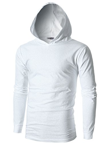 OHOO Mens Slim Fit Long Sleeve Lightweight Echo Knit Hoodie with Kanga Pocket/DCF110-WHITE-L