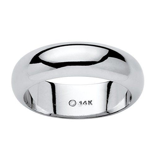 14K White Gold Nano Diamond Resin Filled Wedding Ring, 6mm (14k Gold Wide Band Ring)