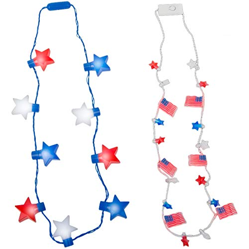 America Party Favors Light Up Necklaces - USA Patriotic Party Supplies LED Star Necklace and Red White and Blue American Flag Necklaces (6pk)