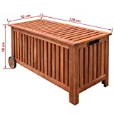 Festnight Wood Outdoor Storage Bench with 2 Wheels