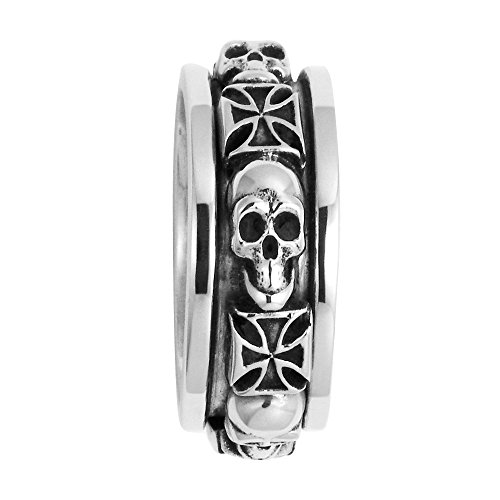 Wildthings Ltd. Stainless Steel Skull and Pattee Cross Spinner Ring (15)