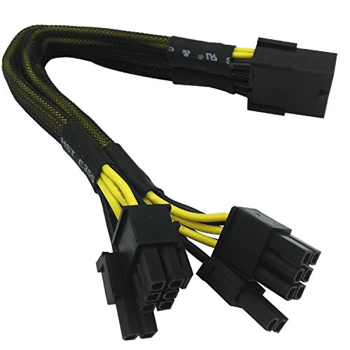 COMeap 8 Pin Female to 2x 8 Pin (6+2) Male PCI Express Power Adapter Braided Sleeved Y-splitter Cable 9-inch(23cm)