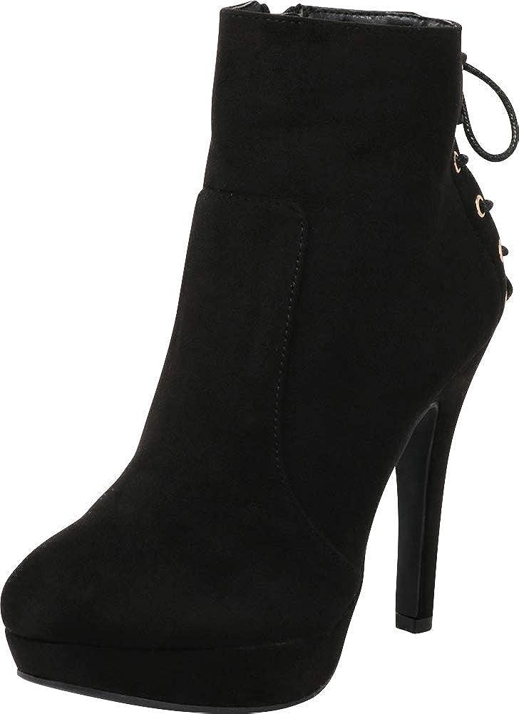 Black Imsu Cambridge Select Women's Back Corset Lace Platform Stiletto High Heel Ankle Bootie