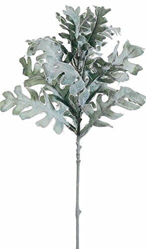 """Flocked Dusty Miller Spray in Gray Green17"""" Tall"""