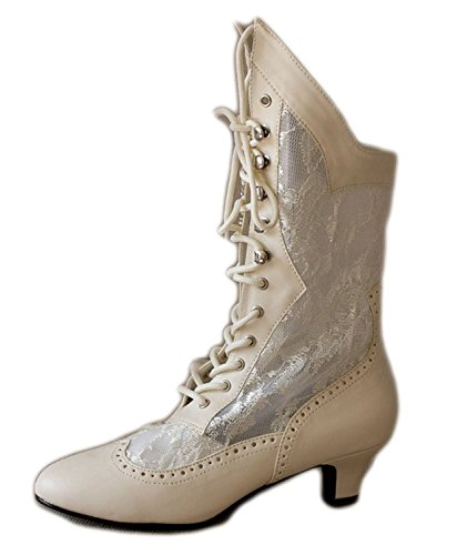 Beige Vintage Style Lace Up Wedding Bridal Bohemian Boho Mid-Calf Women Boots (9) by SharpSpirit