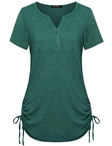 FANSIC Womens Casual Short Sleeve Blouse Tops,3/4 Sleeves Adjustable Drawstring Sides Shirring Henley Shirts Green S