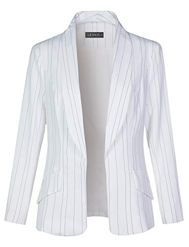 LE3NO Womens Fully Lined Open Front Striped Blazer Jacket,White,Small